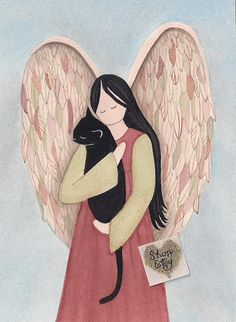 Black cat cradled by angel / Lynch signed folk art print by watercolorqueen on Etsy Crazy Cat Lady, Crazy Cats, I Love Cats, Cute Cats, Angel Art, Cat Angel, Cat Paws, Rainbow Bridge, Cat Drawing