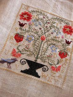 cross stitch strawberry garden - blackbird designs by Di Gough Cross Stitch Love, Cross Stitch Samplers, Cross Stitch Charts, Cross Stitch Designs, Cross Stitching, Cross Stitch Patterns, Embroidery Sampler, Cross Stitch Embroidery, Embroidery Patterns