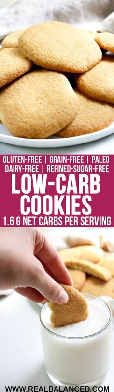 Low-Carb Cookies: low-carb, keto, paleo, gluten-free, grain-free, dairy-free, vegetarian, & refined-sugar-free! 1.6g net carbs per serving!