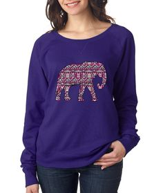 488a71dfd7734 Aztec Elephant Pink Print Womens long sleeve Pullover