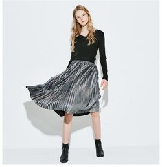 Dresses Length: Knee-LengthPattern Type: SolidSilhouette: A-LineStyle: CasualModel Number: EmpireDecoration: NoneMaterial: Polyester Jean Skirt, Fashion 2017, Jeans Style, Short Skirts, Midi Skirt, Trousers, Ballet Skirt, Woman Fashion, Clothes For Women