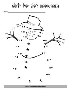Winter Printable Worksheets | Christmas Activities, Worksheets and Lesson Plans: Snowman Dot-to-Dot