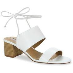 Tahari White Doe Tie Back Mid Heel Sandals - Women's (€47) ❤ liked on Polyvore featuring shoes, sandals, heels, white, tahari sandals, pull on shoes, slip on heels shoes, white heeled sandals and white sandals