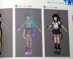 3d anime girl topology and shading