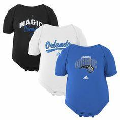 For when basketball season begins  adidas Orlando Magic Newborn Slam Dunk 3-Piece Creeper Set - Black/White/Royal Blue
