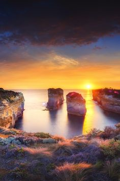 Summer Sunset at Island Archway, Port Campbell National Park in Victoria, Australia