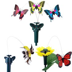 Vibration Solar Power Dancing Flying Butterflies Fluttering Hummingbird Garden Decoration decoration pour le jardin #Affiliate