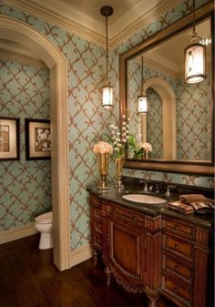 Powder Room Inspiration is part of Elegant bathroom The renovation of the guest bedroom has been finished, and I'm now on the hunt for new furniture to complete it I had sold all of the old furni - Bathroom Layout, Bathroom Interior Design, Small Bathroom, Bathroom Mirrors, Remodel Bathroom, Bathroom Cabinets, Bathroom Faucets, Bathroom Renovations, Interior Paint