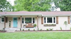 Painted brick can be pretty Lowe's Home Exterior Makeover Reveal - Beneath My Heart