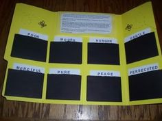 "Lapbook for the Sermon on the Mount teaching the beatitudes. Uses little never ending cards in each pocket to explain each beatitude. (Also called ""memory crosses."") I googled never ending cards to find instructions for making them. Bee-Attitudes Lapbook"