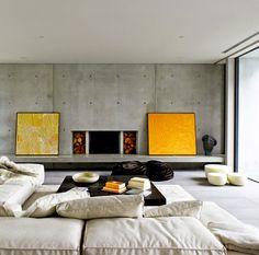 Concrete living room. #Modern #Interior #Condo