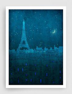 SALE Paris illustration  The Eiffel tower in PARIS  Fine by tubidu, $20.00