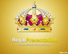 Plantilla PowerPoint de la realeza es una excelente plantilla o diseño de PowerPoint amarillo con una corona de la realeza para presentaciones que tengan que ver con reyes, con épocas antiguas, así como también diplomacia o incluso costumbres de la realeza o familia real