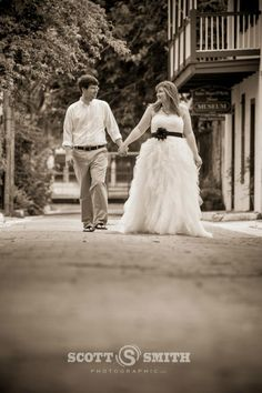 One of our wedding pictures in St. Augustine, Florida.  Featuring my David's Bridal dress and Jon's casual groom attire. #staugustine #wedding #bayfront