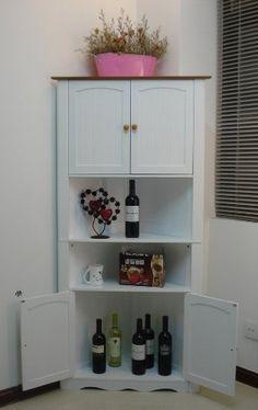 White Wooden Corner Cabinet
