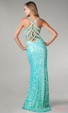 Floor Length V-Neck Sequin Dress at PromGirl.com