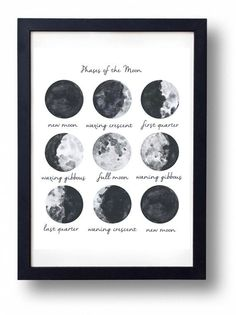 Moon Phases art INSTANT DOWNLOAD PRINTABLE by SistersWhatShop | Moon Phases Art, Moon Art, Single Girl Apartment, Girls Apartment, Bedroom Artwork, Moon Phase Tattoo, Diy Wall Decor, Moon Pictures, Dorm Ideas