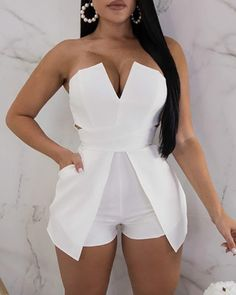 V Neck Zipper Up Back Tube Romper – bodyconest romper fashion,outfit romper,romper and tights,romper casual All White Outfit, White Outfits, Sexy Outfits, Sexy Dresses, Summer Outfits, Fashion Outfits, White Romper Outfit, Mode Chic, Womens Fashion Online