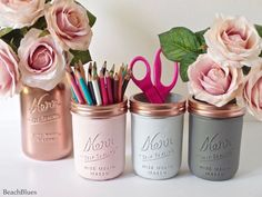These beautiful painted mason jars are ideal for pencil holders or fresh flowers and water. They are painted on the outside only. This listing is for 4 jars. The quart size metallic jar is 6 1/2 tall. The 3 pint jars are 4 1/2 tall. All jars come with metallic lids. You can choose either the pink/mint/gold combo or the pink/grey/copper combo at the drop down menu on the right. Beach Blues is home of the original painted and distressed mason jars since 2011. This is a one of a kind and…