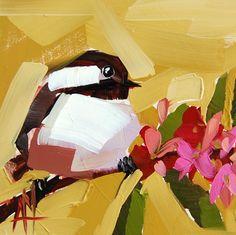 Chickadee no. 701 original bird oil painting by Angela Moulton