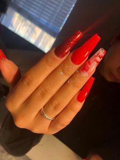 Cute and Charming Nail Art Designs For Ladies - Page 15 of 20 - prom nails - - Red nail designs - Long Nails, My Nails, Red Acrylic Nails, Red Nail Designs, Fire Nails, Perfect Nails, Nails Inspiration, Pretty Nails, Cute Red Nails