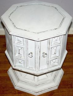Pedestal Octagon Side Table. Composite Material. White Hand Painted Shabby  Chic Cottage By ChicShabbyChic