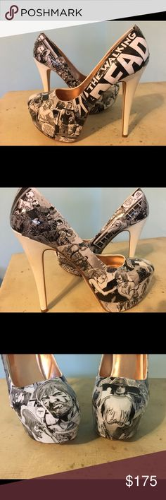 The Walking Dead 6 inch Custom Comic Heels These heels are about 6 inches tall with an approximately 2 inch platform. They're customized using scenes from The Walking Dead comics. They're a size 8, never been worn, new in box. Shoes Platforms