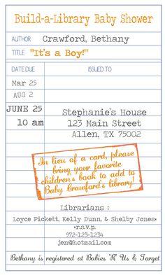Library Themed Baby Shower Invitation printable jpg by lilmoptop
