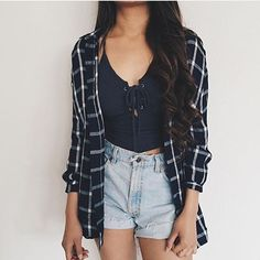 plaid flannel outfit tumblr - Google Search