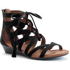 SONOMA Goods for Life™ Salinda Women's Wedge Sandals ($40) ❤ liked on Polyvore featuring shoes, sandals, black, black wedge sandals, open toe wedge sandals, braided sandals, black sandals and woven wedge sandals