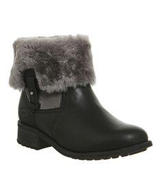 UGG Australia, Chyler Fold Down Boots, Black Leather
