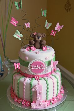 Girl 1st birthday cake; pink and green; bears and butterflies.