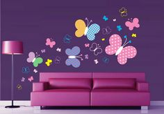 Funny and Colorful Tree Butterfly Wall Stickers Decals Art for Purple Modern Living Room Wall Painting Designs Ideas #Homeowner