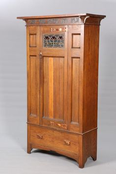 Buy online, view images and see past prices for AN ARTS AND CRAFTS OAK WARDROBE, with over-hanging top above a frieze with. Invaluable is the world's largest marketplace for art, antiques, and collectibles. Arts And Crafts Interiors, Arts And Crafts Furniture, Handmade Furniture, Vintage Furniture, Arts And Crafts For Adults, Arts And Crafts House, Diy Arts And Crafts, Home Crafts, Mission Furniture