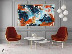 This extra large wall art will beautifully complement an interior with blue or orange decor elements. Horizontal composition and size make it perfect addition for a living room, bedroom, or dining room. This item is fully handmade, painted with acrylic paints on canvas, varnished, signed and dated.