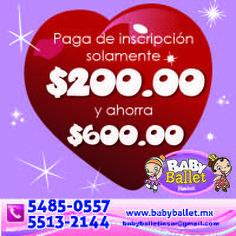 Baby Ballet Insurgentes Sur te ofrece el 75% de descuento en inscripción con tu Peques & Mamás Card.