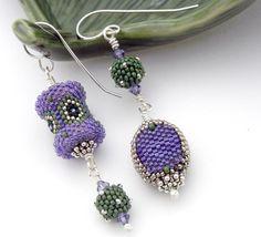 Asymmetrical Earrings beaded bead art jewelry by TheBeadedBead Unique Earrings, Bead Earrings, Earrings Handmade, Crochet Earrings, Beaded Beads, Beads And Wire, Beaded Jewelry, Funky Jewelry, Jewelry Art