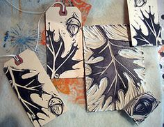 linocut oak leaves and acorns    print on tags and hang to display = falling leaves