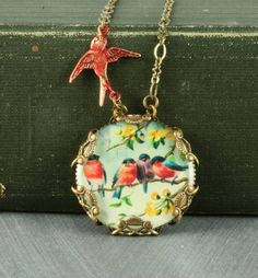 Red Robin Necklace Red Bird Necklace by ForTheCrossJewelry on Etsy