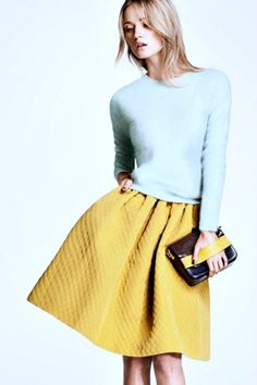 quilted skirt yellow pastel color sweater