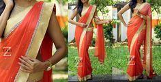 ZA1645-Rs.5100/- Coral shaded georgette and sequins work all over sari. Sari finished with zari and sequins border.Blouse-Gold shimmer  Buy from below link: http://www.anjushankar.com/Product/Details/1210
