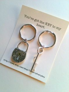 Key and Lock Key Chain Set, Couple Key Ring Gift, Husband and Wife, Girlfriend and Boyfriend, You've got the key to my heart