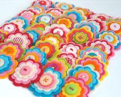 SPECIAL OFFER - 20 x Felt Flower Embellishments, CUSTOM colour combinations, You C H O O O S E, Felt Appliques,