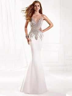 Ivory Scoop Neck Satin Tulle with Beading Modest Trumpet/Mermaid Prom Dresses £116.99