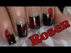Klassische Rote Rosen Nageldesign / Classic Red Rose Nail Art Design Tut...
