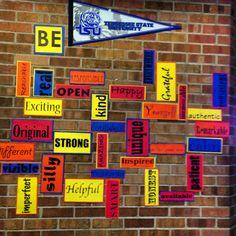 have kids write math words Modern Classroom, Classroom Walls, Classroom Posters, Classroom Decor, Health Bulletin Boards, Library Bulletin Boards, Math Words, School Items, 4th Grade Math