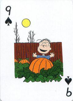 From the Peanuts Great Pumpkin card deck set. Charlie Brown Halloween, Snoopy Halloween, Charlie Brown And Snoopy, Peanuts Cartoon, Peanuts Snoopy, Peanuts Comics, Deck Of Cards, Card Deck, Linus Van Pelt