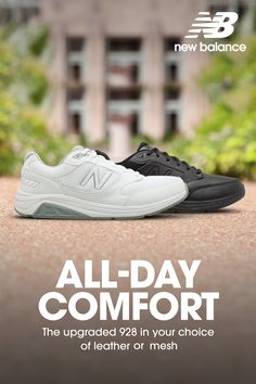 10c0f327a3974 New Balance's popular 928 line of full-grain leather or mesh walkers. The  tie versions have Rollbar® technology for stability, a dual-density molded  PU ...