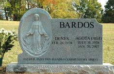 Bardos With Hand Carved Virgin Mary Relief Headstone in Granite
