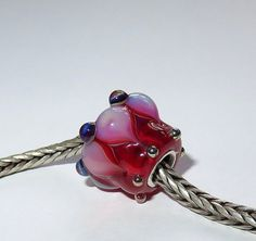 Luccicare Lampwork Bead  Red Lotus   FOCAL  Lined by Luccicare